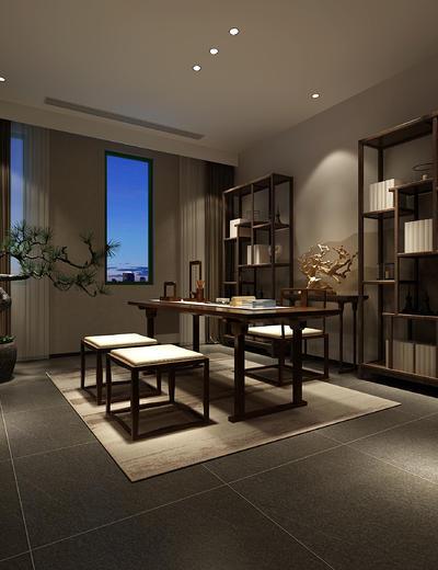 新中式书房, 桌子, 椅子, 置物架, 盆栽, 地毯, 新中式