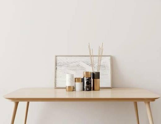 摆件组合, 装饰画, 桌子, 现代