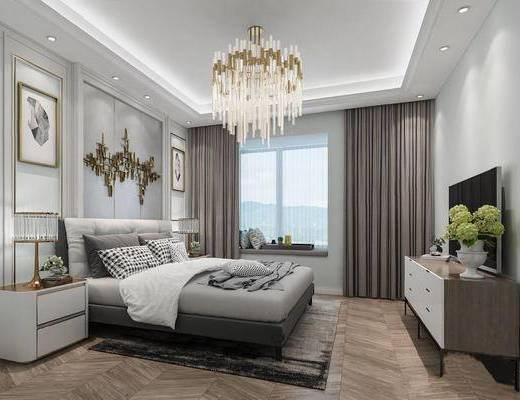 欧式简约, 卧室, 床具组合, 吊灯, 柜组