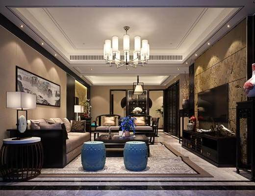 新中式客厅, 吊灯, 多人沙发, 茶几, 椅子, 电视柜, 边几, 台灯, 壁画, 新中式