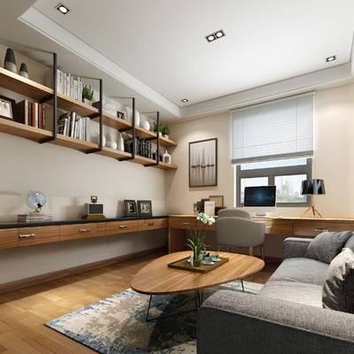 现代书房, 多人沙发, 置物柜, 椅子, 茶几, 台灯, 壁画, 现代