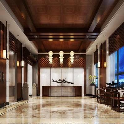 走廊过道, 电梯, 边几, 椅子, 吊灯, 中式