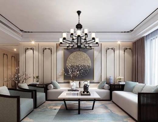新中式, 客厅, 餐厅, 走道, 玄关, 沙发, 餐桌