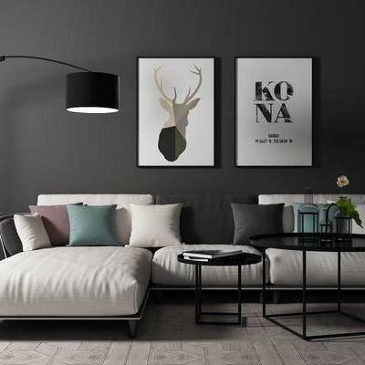 沙发组合, 多人沙发, 茶几, 落地灯, 壁画, 现代