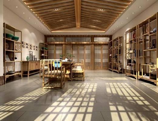 茶室, 桌子, 椅子, 边几, 置物架, 盆栽, 中式