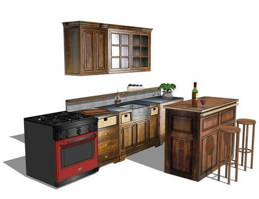 櫥柜, 廚柜, 廚房, 椅子, 現代