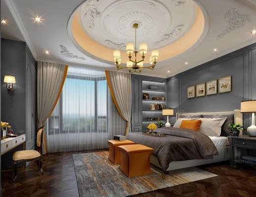 欧式卧室, 吊灯, 双人床, 凳子, 壁画, 椅子, 壁灯, 床头柜, 台灯, 桌子, 置物柜, 欧式