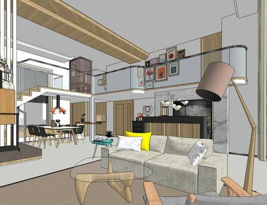 现代客厅, 多人沙发, 落地灯, 茶几, 壁画, 桌子, 椅子, 现代