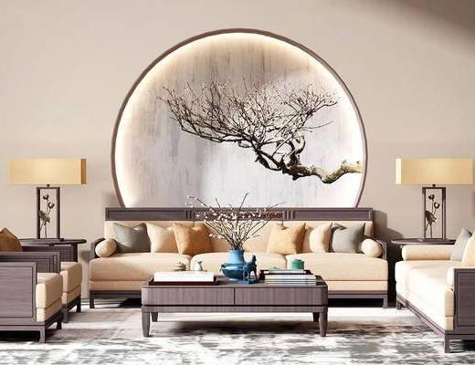 中式, 沙发茶几组合, 台灯, 茶具, 花瓶, 下得乐3888套模型合辑
