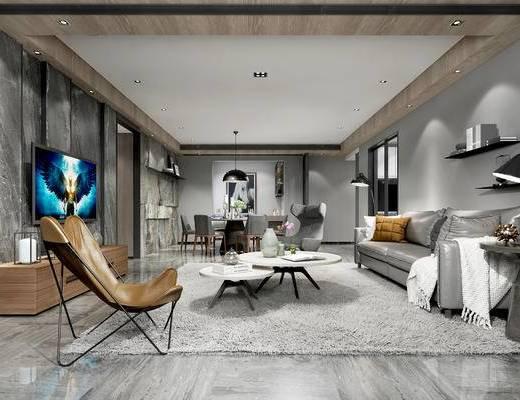 现代客厅, 多人沙发, 茶几, 电视柜, 椅子, 边几, 桌子, 壁画, 吊灯, 现代
