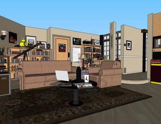 美式客厅, 客厅