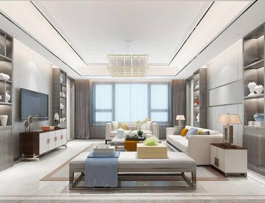 新中式客餐厅, 电视柜, 多人沙发, 边柜, 台灯, 茶几, 沙发躺椅, 置物柜, 吊灯, 新中式