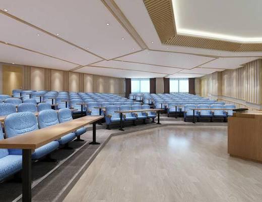 教室, 学校, 阶梯教室, 现代, 桌子, 椅子