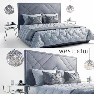 床, 吊灯, 床头柜, 简欧