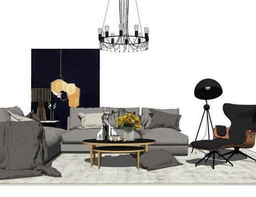 现代轻奢客厅组合, 现代客厅组合, 客厅组合