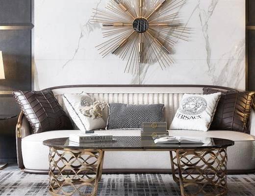 沙发组合, 壁画, 多人沙发, 茶几, 边几, 台灯, 椅子, 凳子, 现代