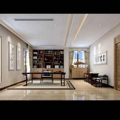 新中式书房, 桌子, 椅子, 壁画, 置物柜, 新中式