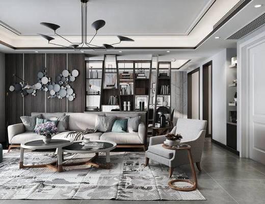 现代客厅, 吊灯, 多人沙发, 椅子, 茶几, 沙发凳, 置物柜, 边几, 台灯, 现代