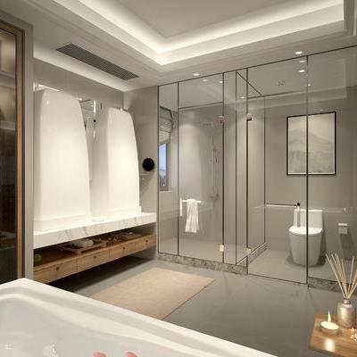 卫浴, 洗手台, 马桶, 壁画, 淋浴间, 浴缸, 现代