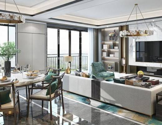 新中式客厅, 客厅餐厅, 客厅, 沙发组合