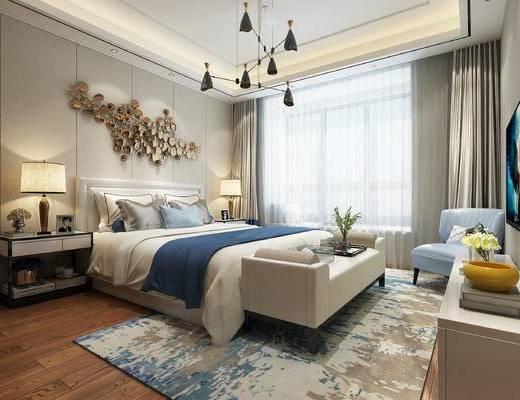 现代卧室, 双人床, 床尾塌, 吊灯, 床头柜, 台灯, 电视柜, 椅子, 现代