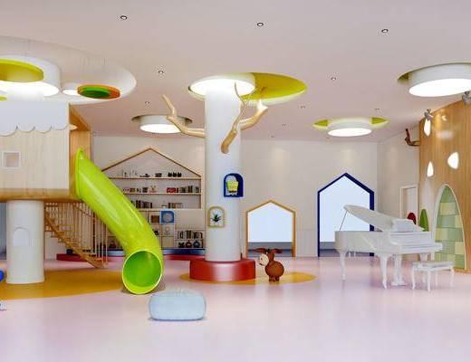 幼儿园, 置物架, 钢琴, 壁画, 玩具, 现代
