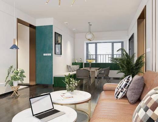 后现代, 客厅, 沙发, 茶几, 盆栽, 餐桌, 椅子, 吊灯, 挂画, 抱枕