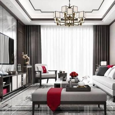 新中式客厅, 吊灯, 多人沙发, 壁画, 电视柜, 椅子, 边几, 花瓶, 沙发躺椅, 台灯, 地毯, 新中式