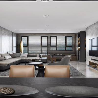 现代客餐厅, 现代, 现代客厅, 现代餐厅, 沙发组合, 椅子, 餐桌椅, 酒柜