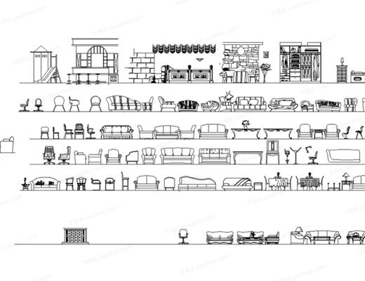CAD, 高文安, 模块, 立面块, 下得乐3888套模型合辑