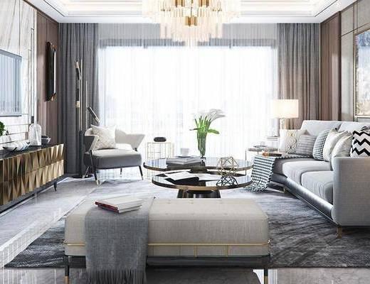 后现代客厅, 多人沙发, 茶几, 沙发凳, 盆栽, 边柜, 单椅, 后现代