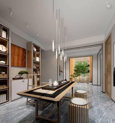 新中式茶室, 吊灯, 桌子, 椅子, 茶具, 置物柜, 边柜, 盆栽, 凳子, 新中式