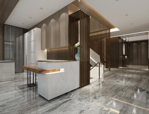 玄关走廊, 边柜, 橱柜, 楼梯, 花瓶, 中式