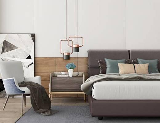 双人床, 床头柜, 椅子, 吊灯, 壁画, 现代