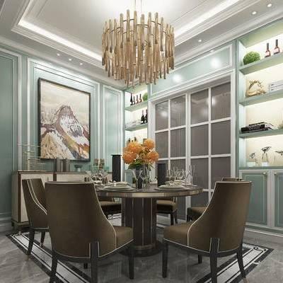 现代餐厅, 吊灯, 桌子, 椅子, 置物柜, 壁画, 花瓶, 现代