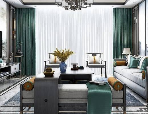 新中式客厅, 壁画, 多人沙发, 吊灯, 茶几, 电视柜, 椅子, 沙发躺椅, 边几, 台灯, 新中式