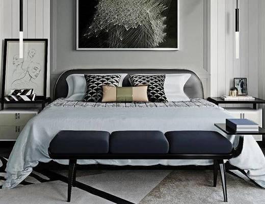 现代简约, 床具组合, 脚踏, 装饰画