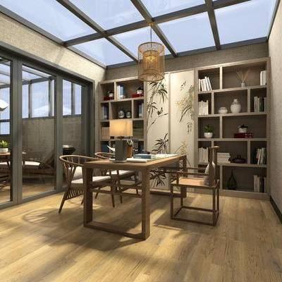 书房, 吊灯, 桌子, 椅子, 壁画, 置物柜, 中式