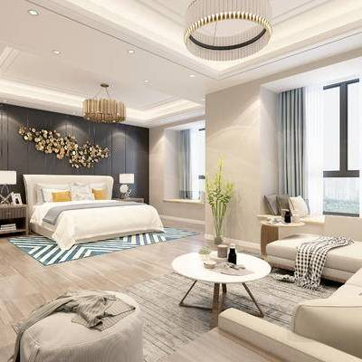 现代宾馆, 吊灯, 双人床, 床头柜, 台灯, 茶几, 多人沙发, 椅子, 地毯, 现代