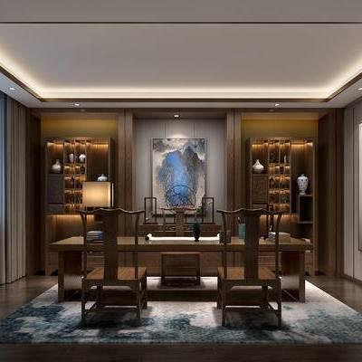 新中式书房, 椅子, 置物柜, 壁画, 台灯, 桌子, 新中式