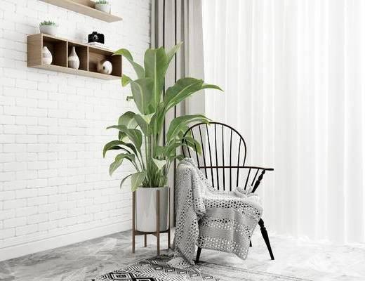 单椅, 盆栽, 北欧