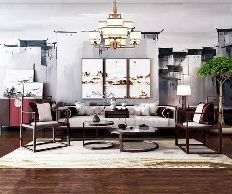 新中式, 沙发茶几组合, 吊灯, 植物盆栽, 茶具组合