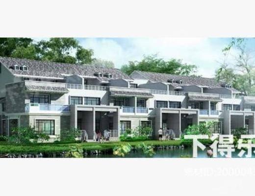 新中式, 别墅, 建筑, 住宅
