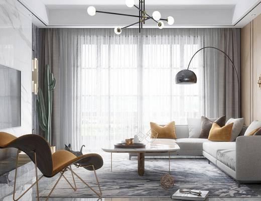 现代, 客厅, 沙发, 茶几, 吊灯, 落地灯, 墙饰