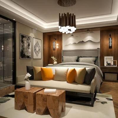 现代简约卧室, 床, 床尾塌, 吊灯, 壁画, 壁灯, 床头柜, 边几, 花瓶, 地毯, 现代简约