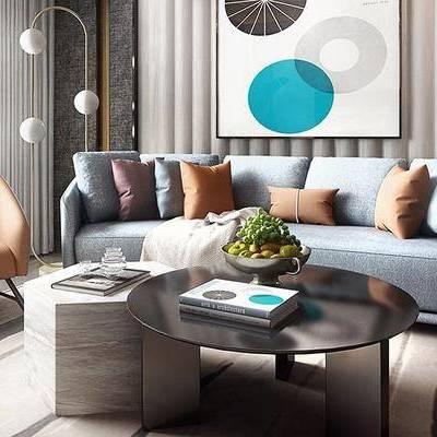 沙发组合, 多人沙发, 椅子, 壁画, 茶几, 落地灯, 台灯, 现代