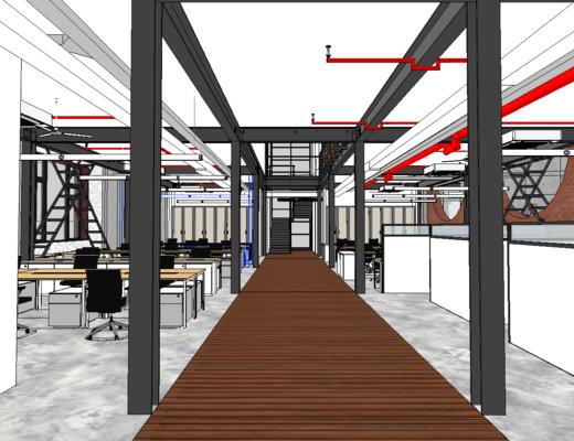 工業風, 桌椅組合, 辦公桌, 辦公區