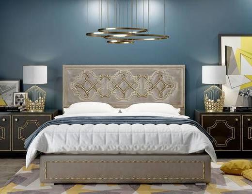 床具组合, 双人床, 吊灯, 壁画, 床头柜, 台灯, 现代