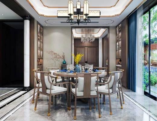 沙发组合, 背景墙, 吊灯, 桌椅组合, 装饰柜
