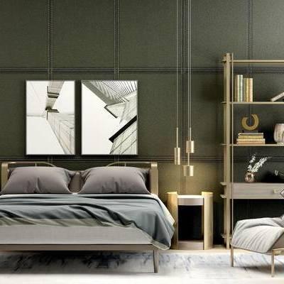 床具组合, 双人床, 床头柜, 现代